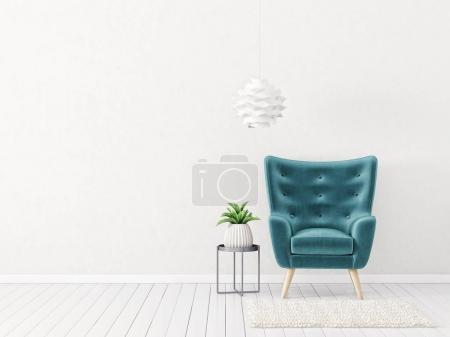 Photo pour Salon moderne avec fauteuil bleu. mobilier design intérieur scandinave. Illustration de rendu 3D - image libre de droit