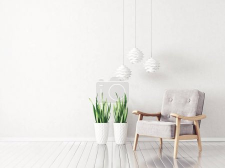 modern living room  with armchair on a white background, interior design furniture. 3d illustration