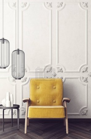 modern living room  with yellow armchair, interior design furniture. 3d illustration