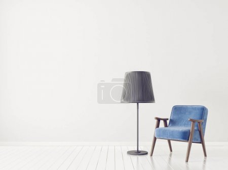 Photo for Modern living room with blue armchair and lamp in scandinavian interior design - Royalty Free Image