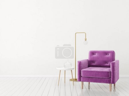 Photo for Modern minimalistic living room with armchair. Scandinavian interior design furniture. - Royalty Free Image