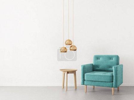 Photo pour Salon minimaliste moderne avec fauteuil. Meubles design d'intérieur scandinave . - image libre de droit