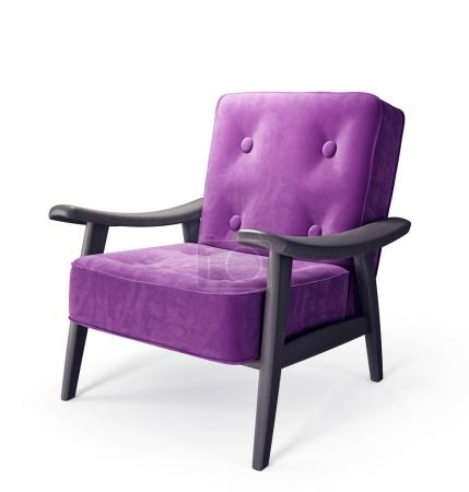 Violet armchair isolated on white.