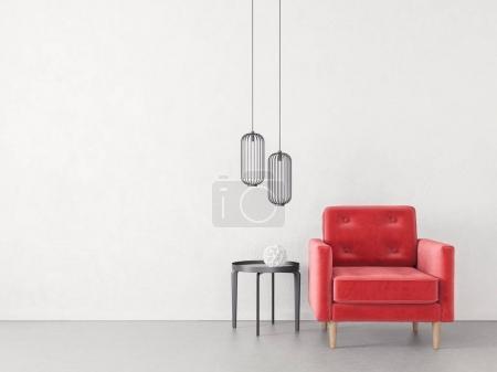 Photo pour Modern salon minimaliste avec fauteuil. Meubles design intérieur scandinave. - image libre de droit