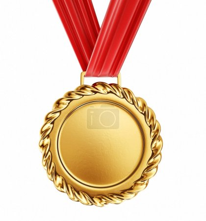 Gold medal on red ribbon, isolated on white.