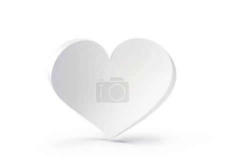 White heart isolated on white, 3d illustration