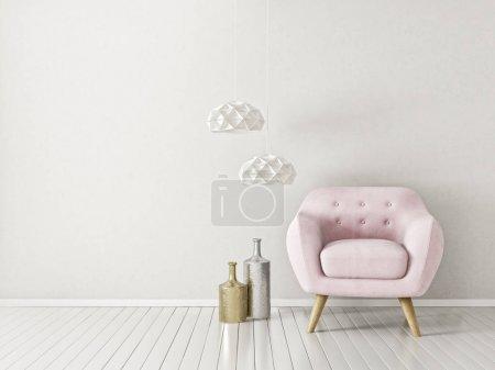 modernes Wohnzimmer mit Sessel und Lampe. Möbel für skandinavische Innenarchitektur.