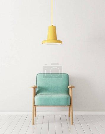 Photo pour Modern salon avec fauteuil et lampe. meubles design intérieur scandinave - image libre de droit