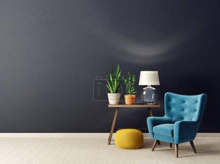 Foto de Moderno salón con sillón y lámpara. muebles de diseño escandinavo. - Imagen libre de derechos