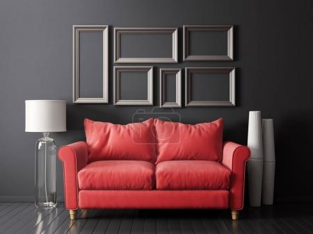 modern living room  with red sofa and lamp. scandinavian interior design furniture