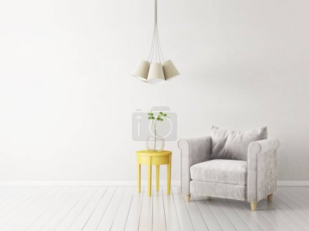 modern living room  with armchair and lamp. scandinavian interior design furniture