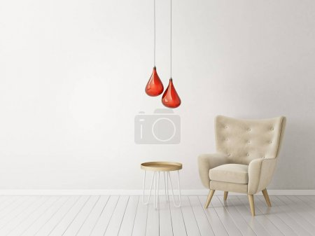 modern living room  with  armchair and lamp. scandinavian interior design furniture.