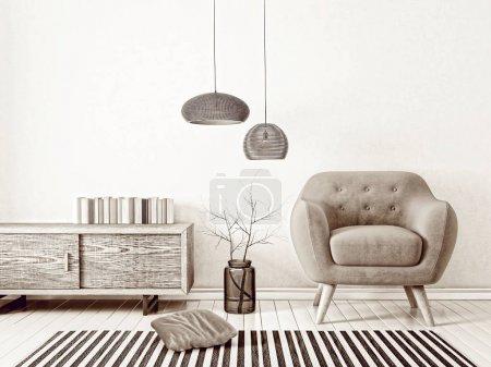 Photo for Scandinavian interior design furniture. 3d render illustration - Royalty Free Image