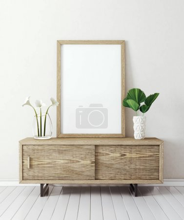 Photo for Modern living room  with table and ampty frame. scandinavian interior design furniture. 3d render illustration - Royalty Free Image