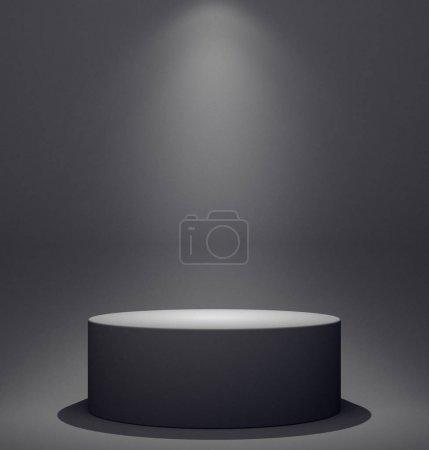 spotlight on black scene background. 3d illustration