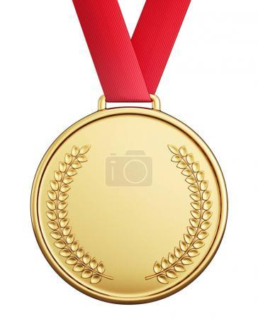 golden medal isolated on a white  background. 3d illustration