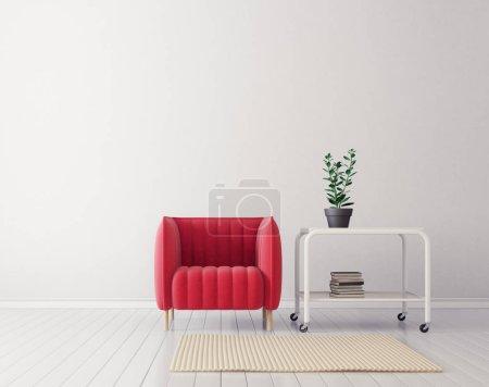 Photo pour Salon moderne avec fauteuil rouge. mobilier design intérieur scandinave. Illustration de rendu 3D - image libre de droit