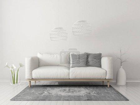 salon moderne avec canapé blanc et lampe. meubles design intérieur scandinave. illustration de rendu 3D