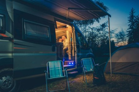 Campground RV and Tent Camping. Evening Relaxing o...
