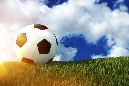 Photo pour Ballon de football sur le terrain herbeux Illustration 3D Concept . - image libre de droit