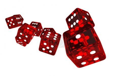 Crystal Red Casino Dices 3D Render Illustration. R...