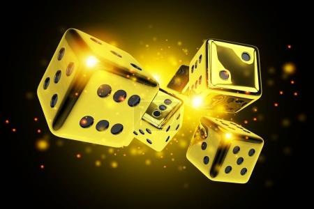 Golden Dice Casino Game 3D Rendered Concept Illust...