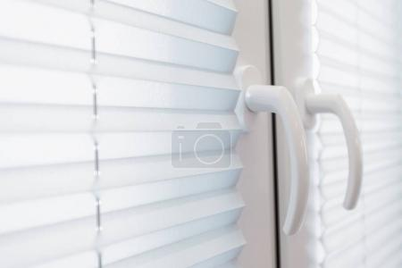 Photo for Residential White and Clean Window Blinds Closeup Photo. House Window. - Royalty Free Image