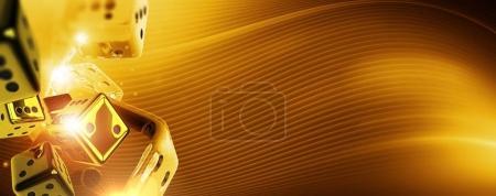 Golden Casino Craps Background Banner. 3D Rendered...
