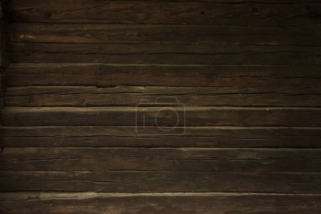 Photo for Vintage Wood Wall Background. Dark Brown Wood Logs Backdrop. - Royalty Free Image