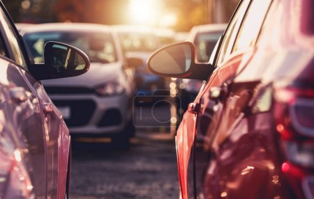Photo for Close Up Of Fleet Of Variety Of Passenger Vehicles At Dealership Outdoor Parking Lot. - Royalty Free Image