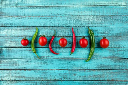 cherry tomatoes and chilli peppers