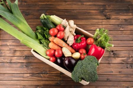 fresh seasonal vegetables in box