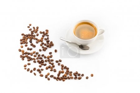 Photo for Coffee beans and cup of coffee with spoon  isolated on white - Royalty Free Image