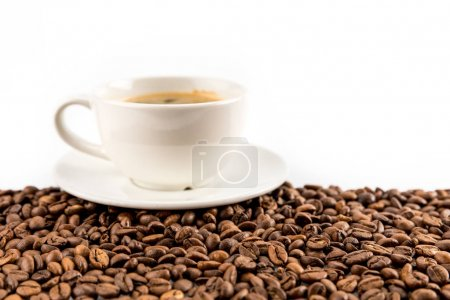 Espresso coffee with coffee beans