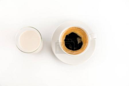 Cup of coffee with milk