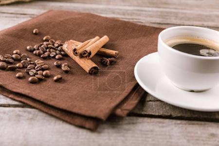 coffee mug steam and cinnamon sticks