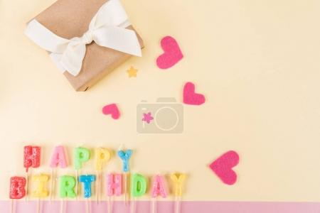 Happy birthday lettering and gift box