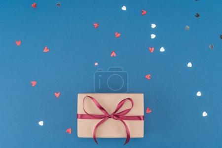 gift box and confetti