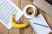 Ripe banana and laptop