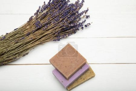 Homemade soap with dried lavender