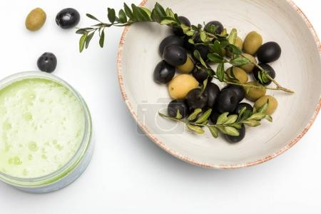 Organic cream and olives