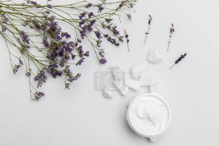 Cream and dried lavender