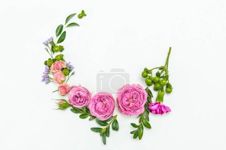 Photo for Top view of beautiful floral wreath with pink roses isolated on white - Royalty Free Image