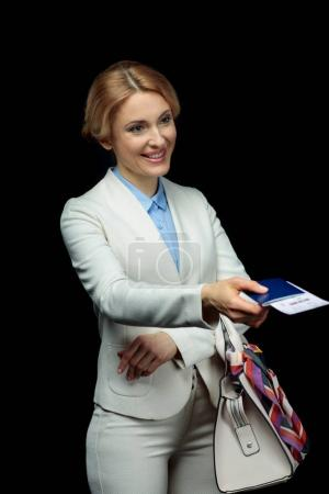 blonde businesswoman with bag