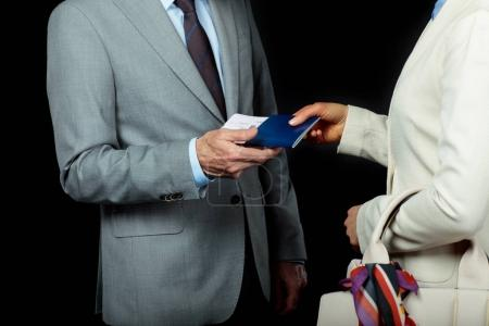 Businesspeople with air ticket