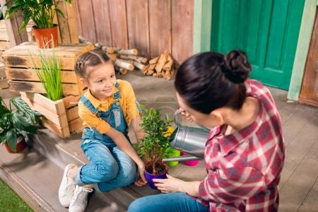 Photo for High angle view of mother and smiling daughter sitting on porch and watering plant - Royalty Free Image