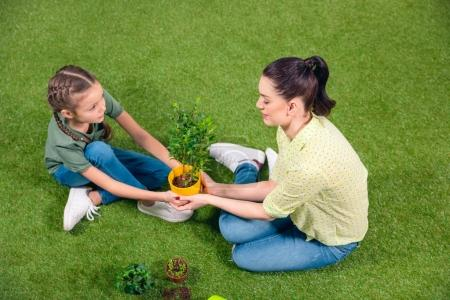 Mother and daughter with plants and flowerpots sitting on green grass