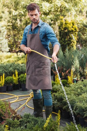 gardener in apron watering plants