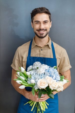 handsome florist with flowers