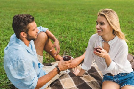 couple drinking wine on romantic date